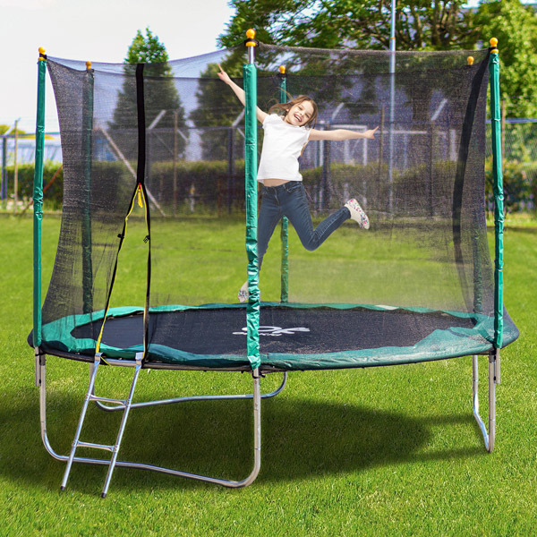 OUTKID trambulin szett létrával és védőhálóval - 305 cm, zöld -  Gyerekjátékok.hu