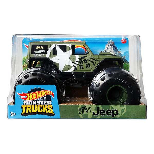 Hot Wheels: Monster Trucks - Katonai Jeep, 1:24