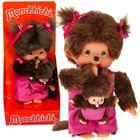 Păpuşă Monchhichi mamă şi copilul - 20 cm, roz