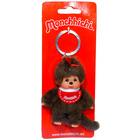 Monchhichi - lány kulcstartó figura piros előkével - 10 cm