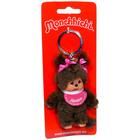 Monchhichi - lány kulcstartó figura rózsaszín előkével - 10 cm
