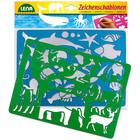 Şabloane pentru desen cu 2 piese - animale marine şi din africa