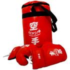 Piros boxzsák 10-es méretű gyerek kesztyűvel 35x20 - G1