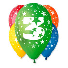 Set cu 5 baloane colorate cu cifra 3
