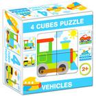 Mix Puzzle cu cuburi, 4 piese - Vehicule