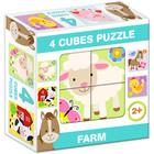 Mix Puzzle cu cuburi, 4 piese - Animale de la fermă