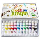 Creative Jungle: Set 12 tuburi de tempera cu carte de colorat