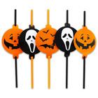 Halloween mintás szívószál - fekete és narancssárga, 5 darabos készlet
