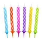 Születésnapi 12 darabos színes spirál gyertya 8 cm