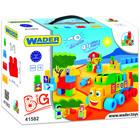 Wader: Közepes méretű építőkockák dobozban, 70 darabos