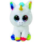 TY Beanie Boos: Csillogó szemű Pixy unikornis plüssfigura - 15 cm, fehér