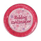 Boldog Születésnapot 6 darabos papírtányér - 23 cm, pink