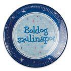 Boldog Születésnapot 6 darabos papírtányér - 23 cm, kék