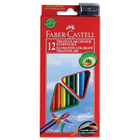 Faber-Castell: 12 creioane colorate triunghiulare cu ascuţitoare cadou