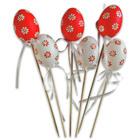 Ouă decor cu beţişor decoraţiune de paşti - 6 cm, două feluri