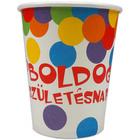 Boldog születésnapot 6 buc. pahare carton cu inscripţie - 250 ml, model confeti