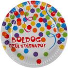 Boldog születésnapot feliratos 6 darabos papírtányér - 23 cm, konfetti mintás