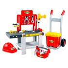Ecoiffier: Set unelte 4-în-1 cu cărucior şi cască de protecţie