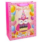 Happy Birthday feliratos, bagoly mintás ajándékzacskó - rózsaszín, 11 x 14 cm