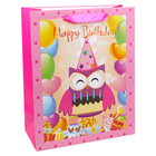 Model bufniţă şi inscripţie Happy Birthday: pungă cadou - roz, 11 x 14 cm