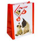 Cica és kutya mintás ajándékzacskó - piros, 18 x 23 cm