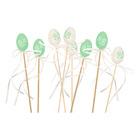 Tojás pálcán - zöld-fehér, kétféle, 4 cm