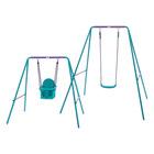 Plum: Set leagăn metalic pentru copii, 2-în-1 - violet-albastru verzui