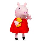 Peppa Pig: Figurină de pluş Peppa cu căţeluş - 35 cm