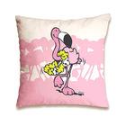 Nici: pernă decorativă cu model flamingo - 37 x 37 cm, roz-alb