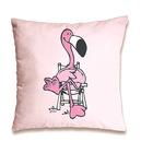 Nici: pernă decorativă cu model flamingo - 37 x 37 cm, roz