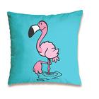 Nici: flamingó mintás párna - 37 x 37 cm, világoskék