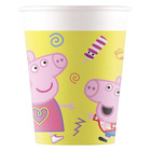 Set 8 pahare din carton Peppa Pig - 200 ml, galben