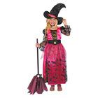 Costum vrăjitoare cu model liliac, 110-120 cm, roz
