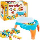 Măsuță de joacă cu 42 cuburi de construcție, Wader - pastel