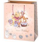 Winnie the Pooh: Pungă cadou cu inscripție Happy Birthday - 26 x 13 x 33 cm