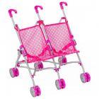 Jucărie Bimbo, cărucior roz pentru păpuși gemene- 48 cm