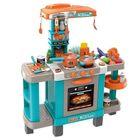 Bucătărie de jucărie cu sunet și lumini - 39 de accesorii, albastru-portocaliu