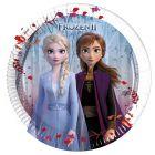 Disney hercegnők: Jégvarázs levél mintás, 8 darabos papírtányér - 20 cm