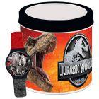 Jurassic World: ceas de mână în cutie de cadou din metal - negru-roșu