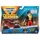 Monster Jam: Mașinuță Pirates Curse cu figurină Captain Black
