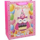 Bufniță Happy Birtday, pungă cadou - 23 x 18 x 10 cm