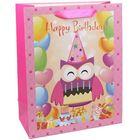 Bufniță Happy Birtday, pungă cadou - 26 x 32 x 13 cm