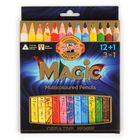 Koh-I-Noor: creioane colorate triunghiulare magice fără lemn - 12+1 buc.