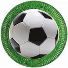 Set de 8 farfurii de carton cu model minge de fotbal - 23 cm