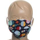 Mască facială pentru copii, textil cu două straturi cu inserție la nas - model peștișori, albastru