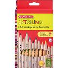 Trilino Creioane colorate groase, lemn natural - 12 buc.