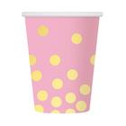Arany pöttyös, rózsaszín papír pohár, 270 ml, 6 db-os