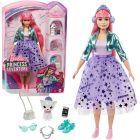 Barbie Princess Adventure - Păpușă prințesă cu păr roz și pisică