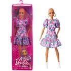 Barbie Fashionistas: Păpușă Barbie chel în rochie cu model floral
