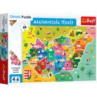 Trefl: Puzzle educativ - Harta Ungariei, în lb. maghiară